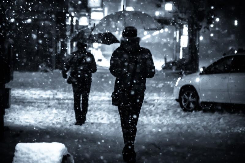 雪で寒すぎて飲酒